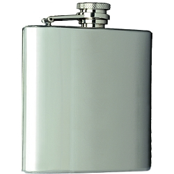 Brushed Stainless Steel Flask, 8 oz.