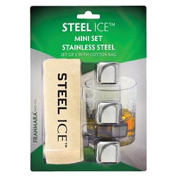 Steel-Ice Cubes, Mini Set (Carded) with Storage Bag