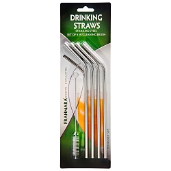 Stainless Steel Drinking Straws, Set of 4 with Cleaning Brush