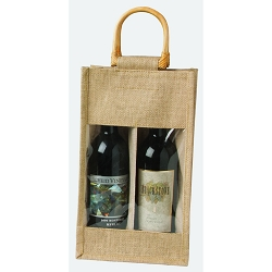 Jute Vino Sack, 2 bottles, with poly window 10-6265
