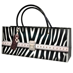 Zebra Print Wine Bottle Bag, Horizontal, 10 bags in pack