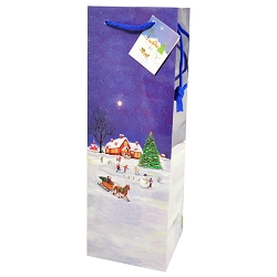 Country Christmas Holiday Wine Bottle Gift Bags, 12 in a pack