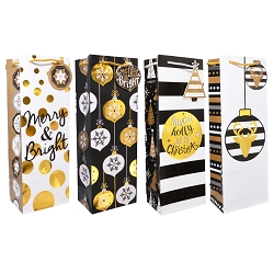 Black and Gold Christmas Hot Stamp Wine Gift Bags