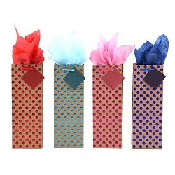 Dot Embossed Wine Gift Bags