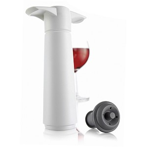 Wine Saver Pump & One Stopper by VacuVin (White, Carded) formerly 30-7770